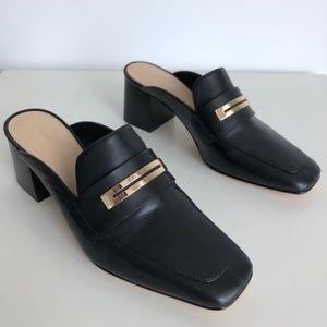 NEW Via Spiga Black Block Heel Loafers Mules 9
